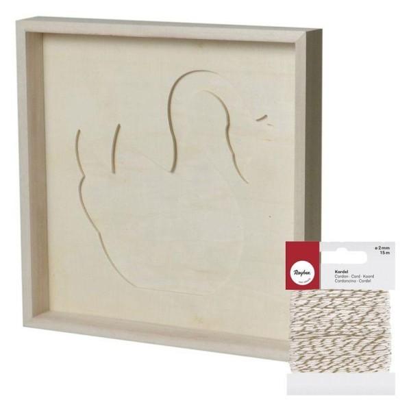 Cadre décoratif cygne 30 x 30 cm + Ficelle dorée & blanche 15 m - Photo n°1