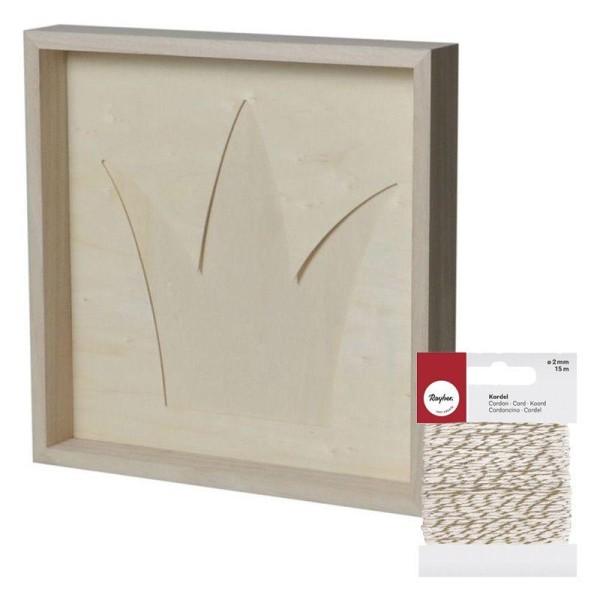 Cadre décoratif couronne 30 x 30 cm + Ficelle dorée & blanche 15 m - Photo n°1