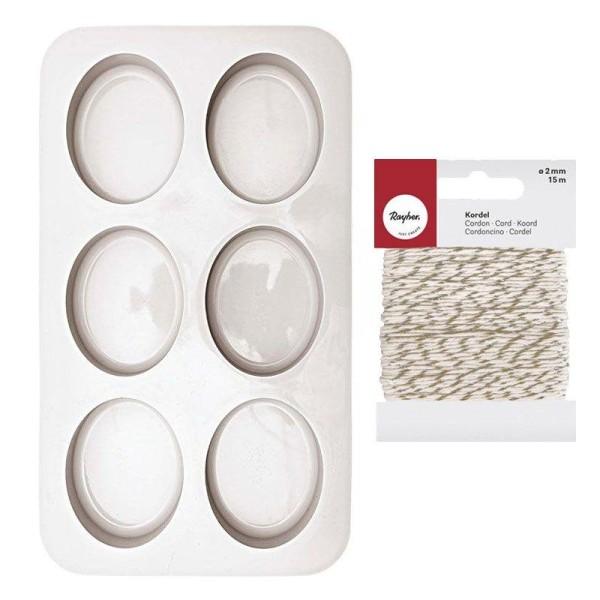 6 moule à savon silicone ovales 7,5 x 6 cm + Ficelle dorée & blanche - Photo n°1
