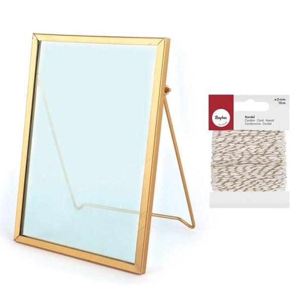 Cadre verre vintage rectangle 13 x 18,5 cm + Ficelle dorée & blanche - Photo n°1