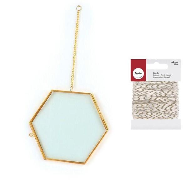 Cadre verre vintage hexagone 15 x 13 cm avec chaîne + Ficelle dorée & blanche - Photo n°2