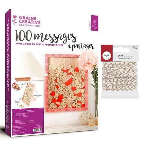 Cadre bois 30 x 42 cm 100 messages coeurs + Ficelle dorée & blanche - Photo n°2