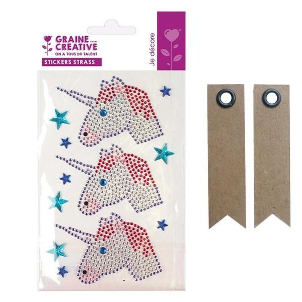 4 stickers strass 15 x 9,5 cm Tête de licorne + 20 étiquettes kraft Fanion - Photo n°1