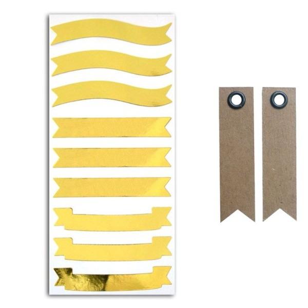 Stickers bannières dorées + 20 étiquettes kraft Fanion - Photo n°1