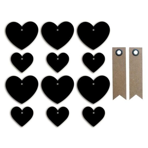 Stickers ardoises petits & grands cœurs + 20 étiquettes kraft Fanion - Photo n°1