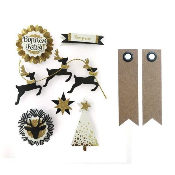 6 stickers 3D rennes de Noël 6,5 cm + 20 étiquettes kraft Fanion - Photo n°1
