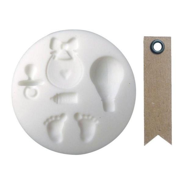 Mini moule silicone pour pâte FIMO Naissance + 20 étiquettes kraft Fanion - Photo n°1