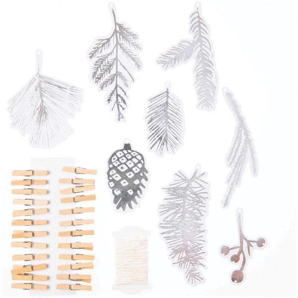 Guirlande de Noël forêt argentée - 24 pièces - Photo n°4