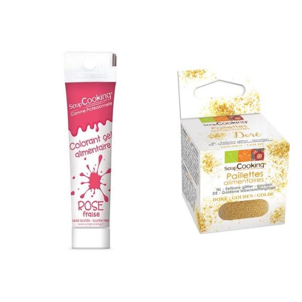 Colorant alimentaire en gel rose foncé + paillettes dorées - Photo n°1