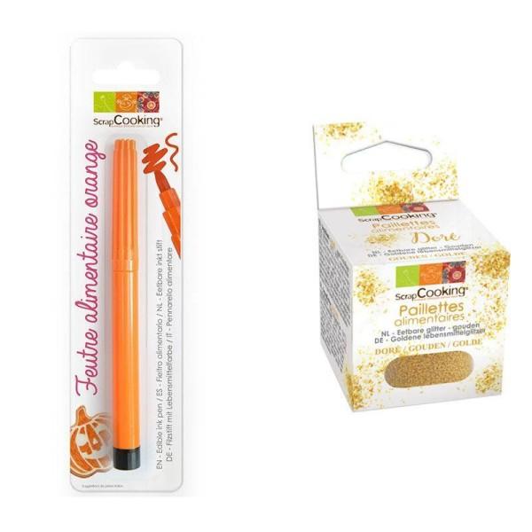 Feutre alimentaire orange + paillettes dorées - Photo n°1