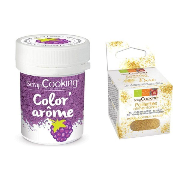 Colorant alimentaire violet arôme mûre + paillettes dorées - Photo n°1