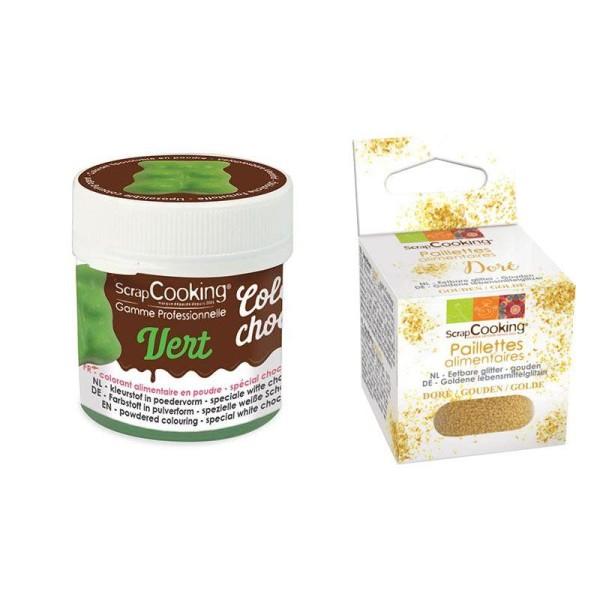 Colorant alimentaire liposoluble vert + paillettes dorées - Photo n°1
