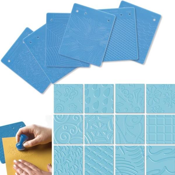 Set de 6 plaques de texture B motifs x 12 - Photo n°1
