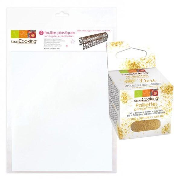 2 feuilles plastique semi-rigides à pâtisserie A4 + paillettes dorées - Photo n°1