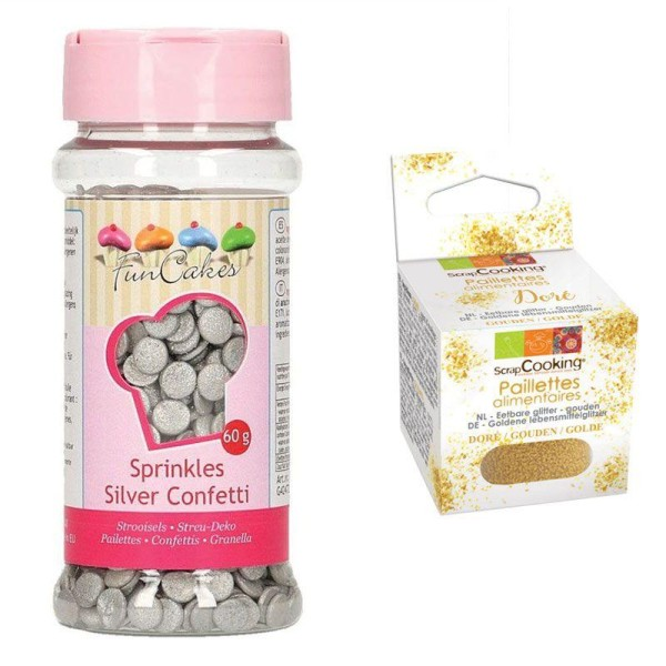Décors sucrés confettis argentés + paillettes dorées - Photo n°1