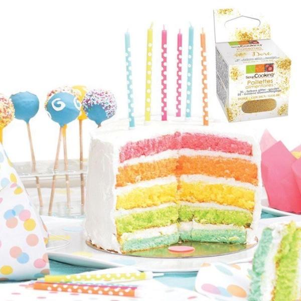 Kit Rainbow Cake + paillettes dorées - Photo n°1