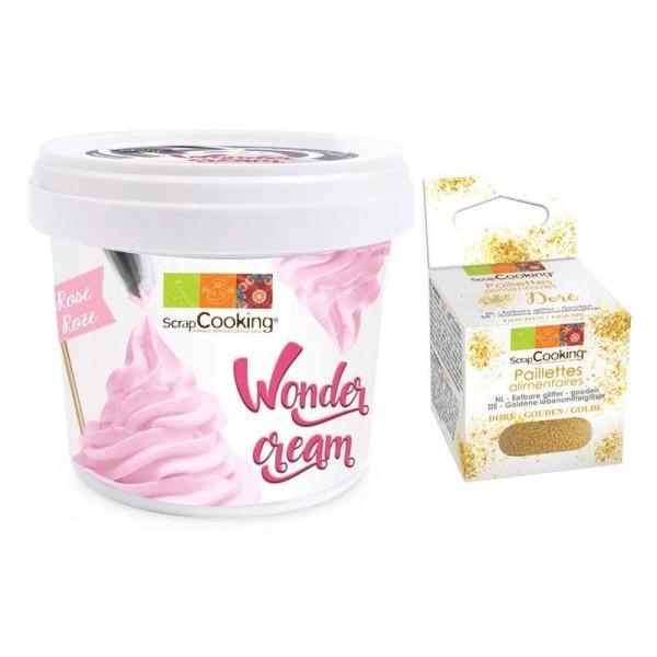 Wonder cream rose 150 g + paillettes dorées - Photo n°1