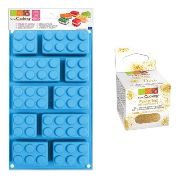 Moule en silicone briques Lego + paillettes dorées - Photo n°1
