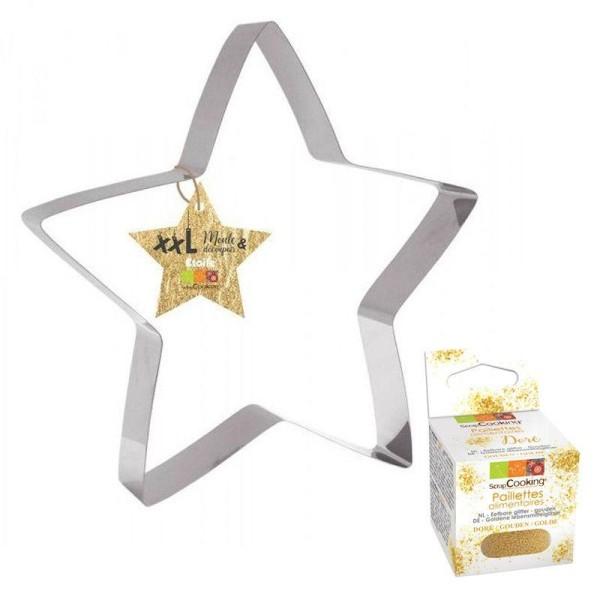 Découpoir à pâtisserie inox XXL Etoile + paillettes dorées - Photo n°1