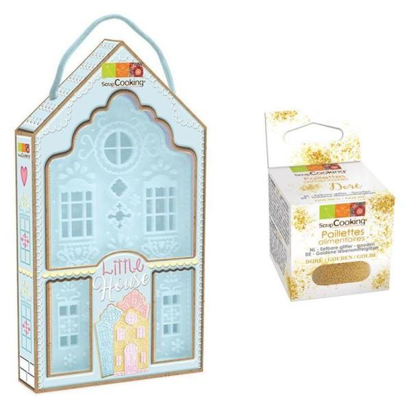 Découpoir à pâtisserie Little house + paillettes dorées - Photo n°1