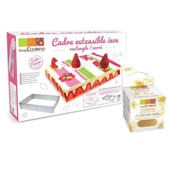 Cadre à pâtisserie extensible rectangle + paillettes dorées - Photo n°1