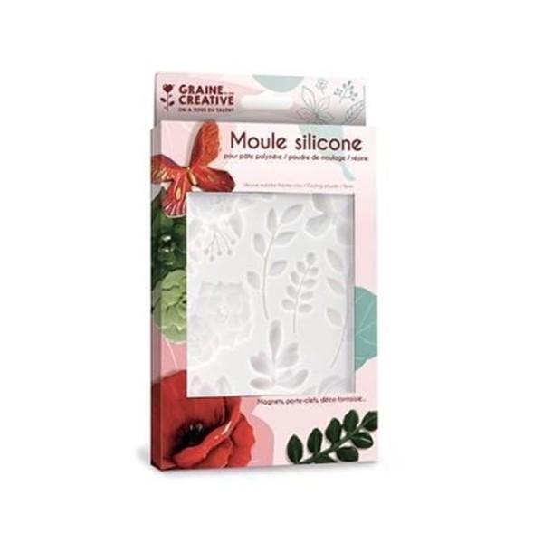 Moule en silicone pour pâte polymère - Floral - 20 x 13 cm - Photo n°1