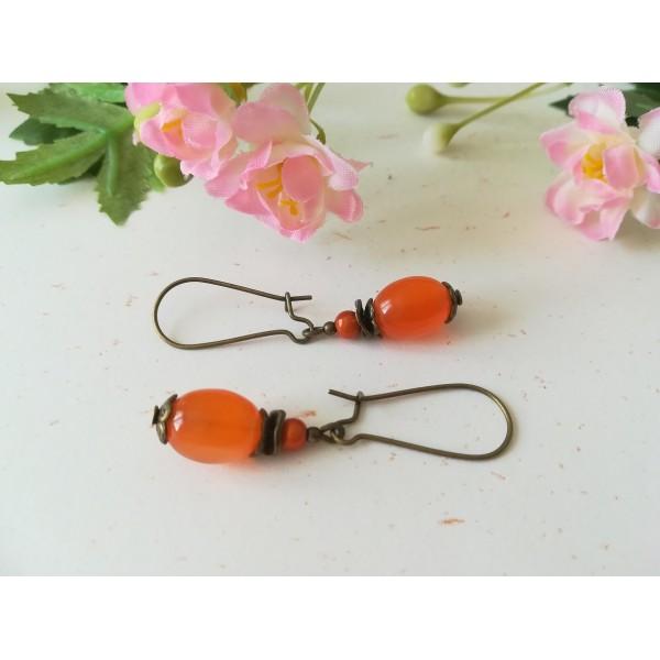 Kit de boucles d'oreilles apprêts bronze et perle olive en verre orange - Photo n°1