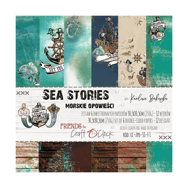 6 papiers imprimés scrapbooking 30 x 30 cm CRAFT O CLOCK SEA STORIES - Photo n°1