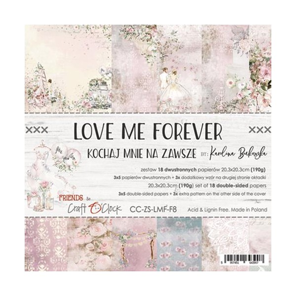 18 papiers scrapbooking 20 x 20 cm Craft O Clock LOVE ME FOREVER - Photo n°1
