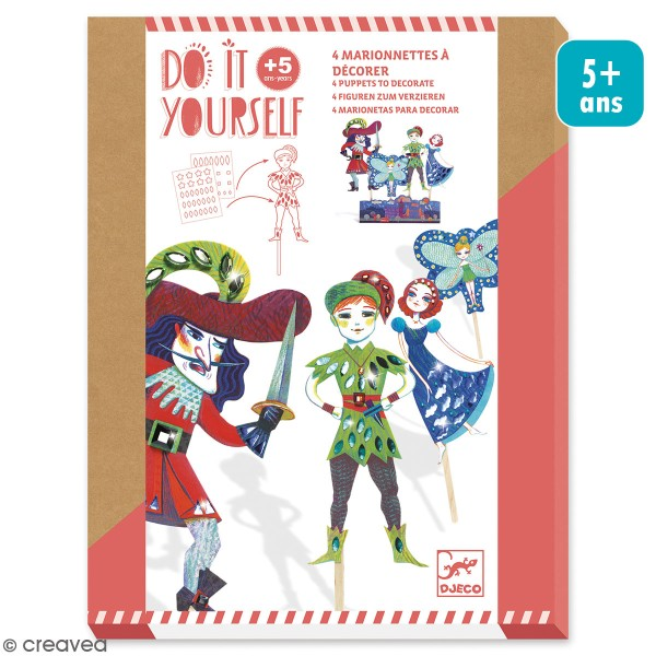 Kit Do it Yourself - Marionnettes à décorer - Peter Pan - 4 pcs - Photo n°1