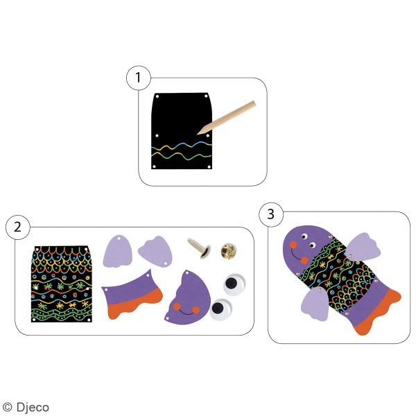 Kit Cartes à gratter - Animaux rigolos - 5 pcs - Photo n°3