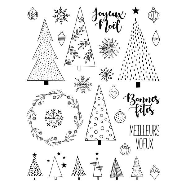 Tampons Clear - Joyeux Noël et Sapins - 29 pcs - Photo n°1