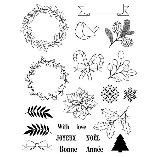 Tampons Clear - Joyeux Noël - 21 pcs - Photo n°2