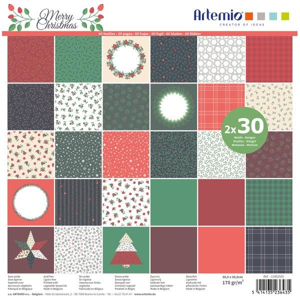 Papier Scrapbooking Artemio - Joyeux Noël - 30,5 x 30,5 cm - 60 pcs - Photo n°1