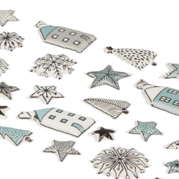 Stickers Puffies Noël Cosy - Maisons et Etoiles - 37 pcs environ - Photo n°3