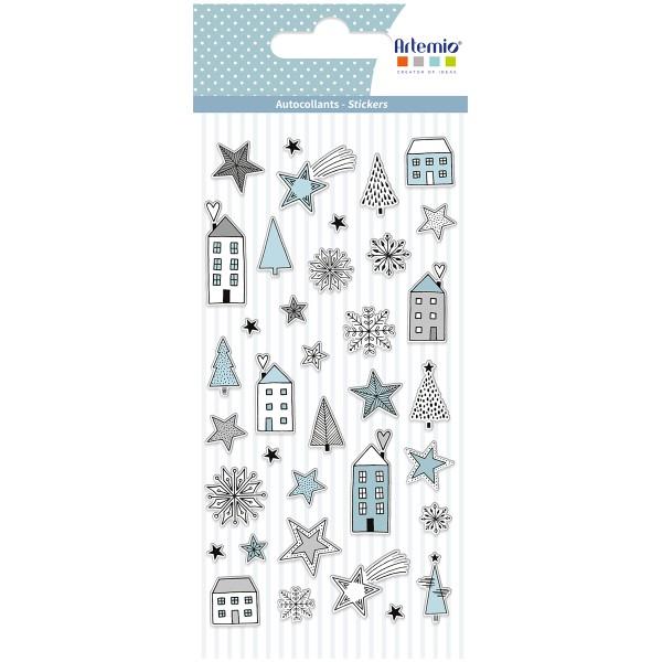 Stickers Puffies Noël Cosy - Maisons et Etoiles - 37 pcs environ - Photo n°1