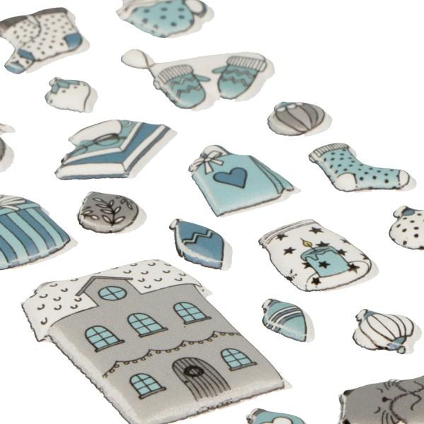 Stickers Puffies Noël Cosy - Chats et Déco de Noël - 21 pcs environ - Photo n°2