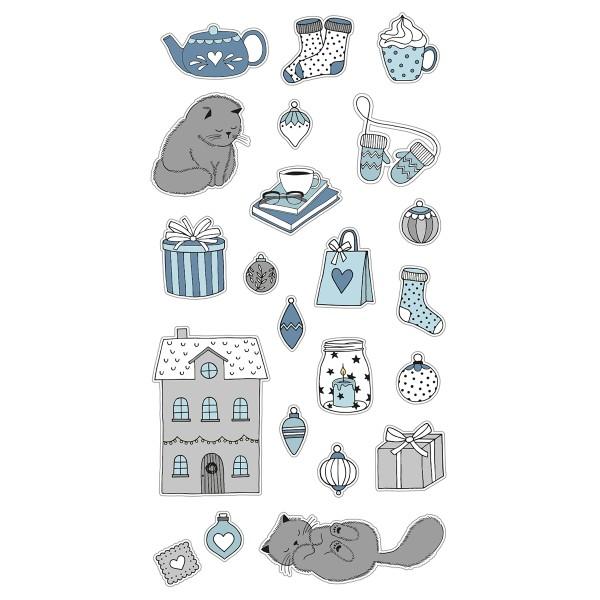 Stickers Puffies Noël Cosy - Chats et Déco de Noël - 21 pcs environ - Photo n°1