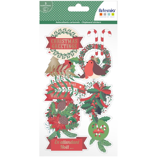 Stickers fantaisie cartonnés - Joyeux Noël - 26 pcs - Photo n°1
