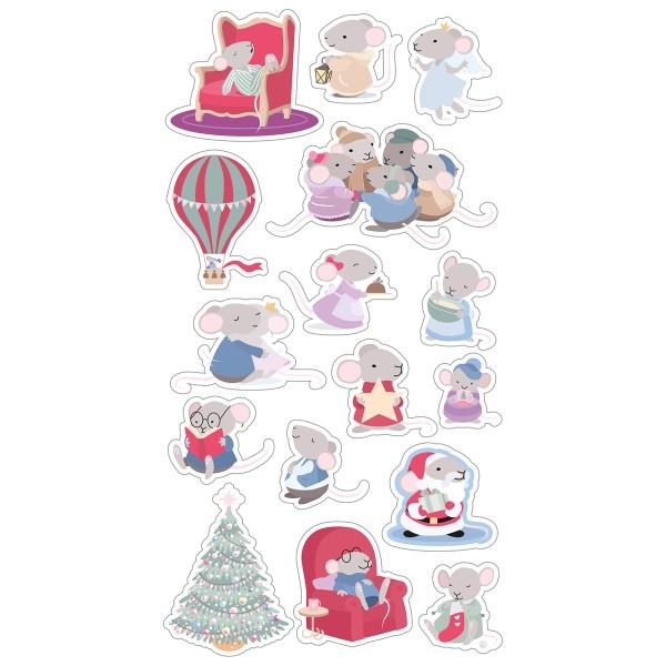 Stickers Puffies Souris et Noël - 16 pcs environ - Photo n°1