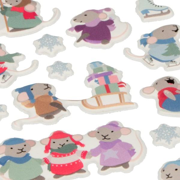 Stickers Puffies Souris et Flocons - 25 pcs environ - Photo n°2