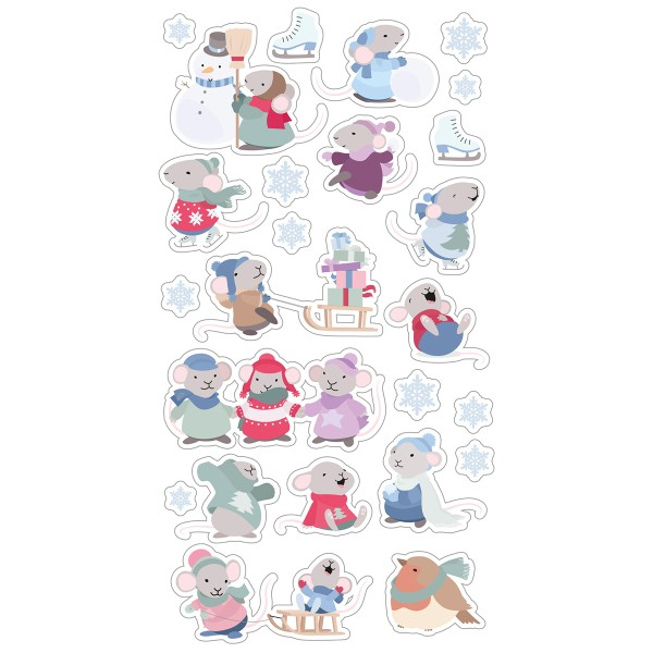 Stickers Puffies Souris et Flocons - 25 pcs environ - Photo n°1