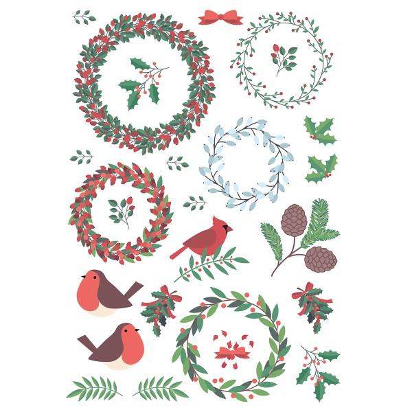 Décalcomanies Noël - Couronne de Noël - Format A5 - Photo n°4