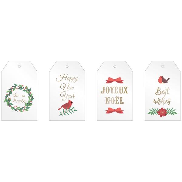 Étiquettes transparentes - Joyeux Noël - 8 pcs - Photo n°2