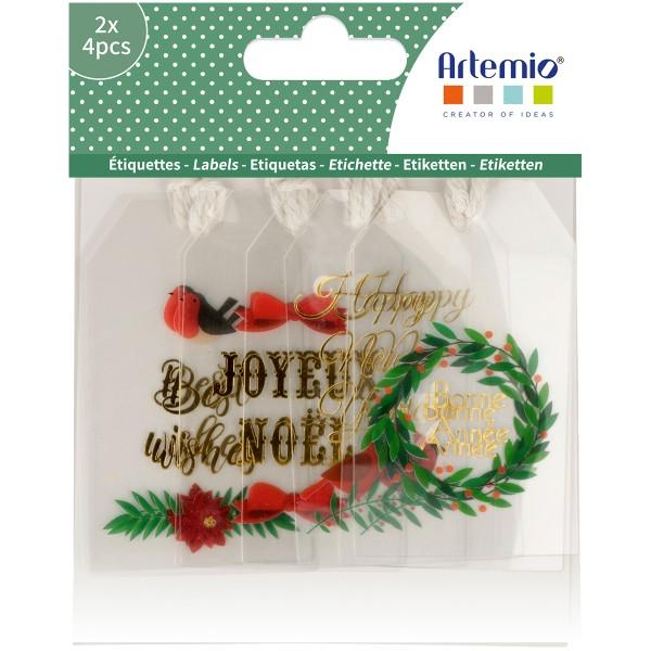 Étiquettes transparentes - Joyeux Noël - 8 pcs - Photo n°1