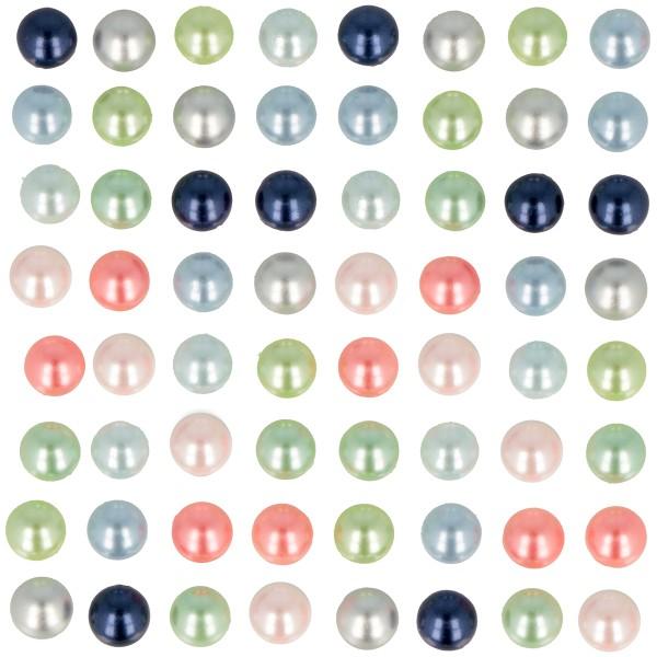 Perles adhésives - Pastel et nacrées - 7 mm - 64 pcs - Photo n°2