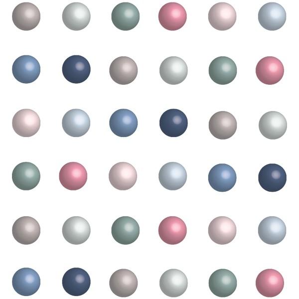 Perles adhésives - Pastel et nacrées - 7 mm - 64 pcs - Photo n°1