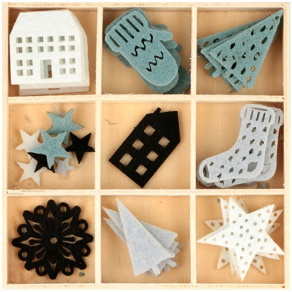 Set de Mini Silhouettes en feutrine - Hiver - 48 pcs - Photo n°1