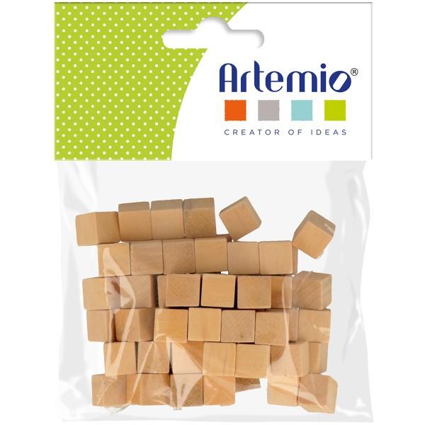 Lot de mini cubes en bois - 12 mm - 72 pcs - Photo n°1