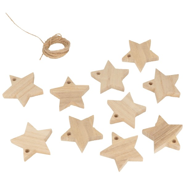 Guirlande - étoiles en bois - 10 pcs - Photo n°2